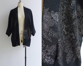15% Code - MAR15OFF - Vintage 50's Silk Brocade Black Floral Haori Kimono Robe