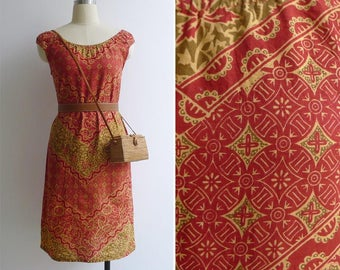 Vintage Red Hippie Woodblock Print Cotton Dress XS or S