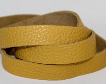 15 mm  Yellow Genuine Leather Strap, Cowskin 1 Yard