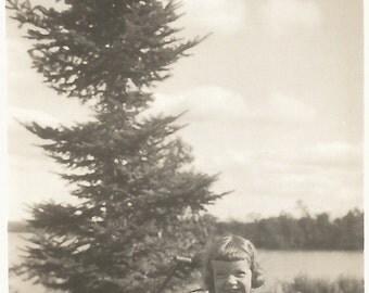 "Vintage Snapshot ""Happy Day"" Cute Little Girl Pine Tree Lake Sand Pail Found Vernacular Photo"