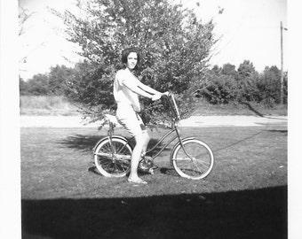 "Vintage Photo ""Banana Seat"" Bicycle Monkey Handlebars Spyder Bike Banana Bike Teenage Girl Bermuda Shorts Found Vernacular Photo"
