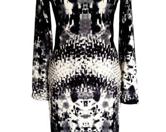 Black and White Jersey Dress, Winter Dress, Plus Size Dress, Long Sleeves Dress, Warm Dress, Dress With Sleeves, V Neck Dress