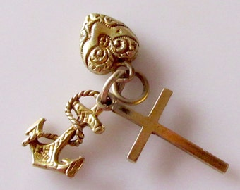 9ct Gold Faith Hope and Charity Charm or Pendant