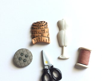 Sewing Themed Magnets, Thread, Spool, Fridge Magnets, Sewing Machine, Scissors, Thimble, Sewing Kit, Seamstress GIft
