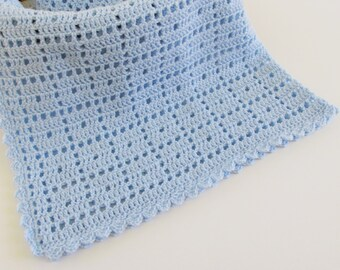 Baby Blanket Crochet, 34x34 Light Blue Blankie for Boys, Blanky for Baby Shower Gift
