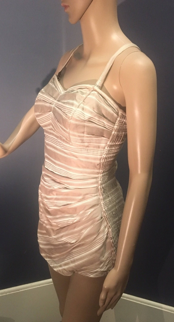 Vintage 1940s Cream and Taupe Striped Bathing Suit Size Small