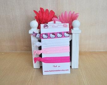 Hello Kitty Elastic Hair Ties~~~ Birthday Favors~~~Baby Shower~~~Hair Tie Bracelet