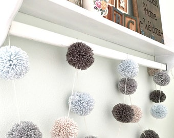 Pom Pom Yarn Garland Arctic Ice Blue - Md. Gray - Dk. Gray - Linen - Wall Decor - Nursery - Wedding - Party Decoration Yarn Pom Poms 10 Ft.