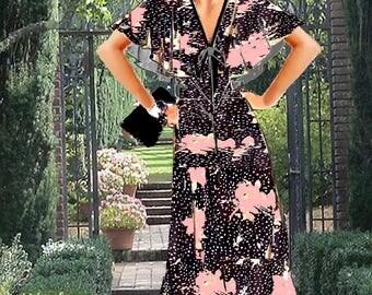Cape DressTea Length Beautiful Black Georgette Print Made To Measuement