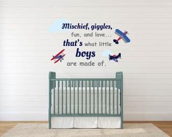 Nursery wall decals / Plane decals / decals / stickers / Vinyl decals / Vintage AirPlanes decals / boys nursery decal / saying decal