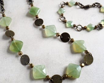 New Jade Serpentine Brass Bohemian Necklace- Boho Jewelry-Tribal Necklace-Summer Necklace-Gift For Mum-Wife Birthday Gift-Mom Gift-Aunt Gift