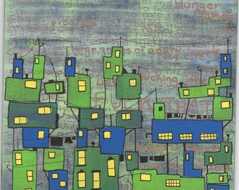 Cityscape in blue and green acrylic paint on wood panel, urban scene with buildings windows wires clothesline handwritten adult language
