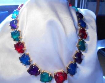Avon Jewelesque Nugget Choker Necklace Jewel Tone Lucite Stones