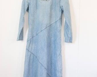 Vintage long jean dress / women's / boho / festival / indie / medium