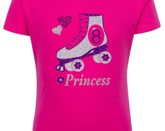 8th Birthday Roller Skate Shirt Roller Rink Party Roller Derby Hair Bow Hot pink Purple Hearts Flower Wheels Glitter Personalized Name SK8