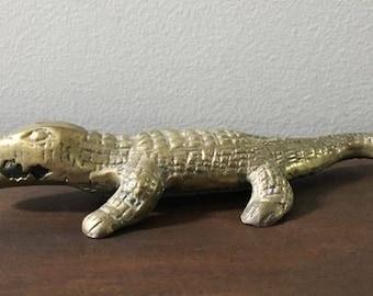 Alligator in Brass / Vintage Small Gator Statue