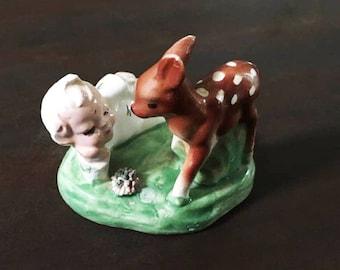 Miniature Pixie and Deer Figurine / Terrarium Figures / Woodland Decor / Fairy Garden