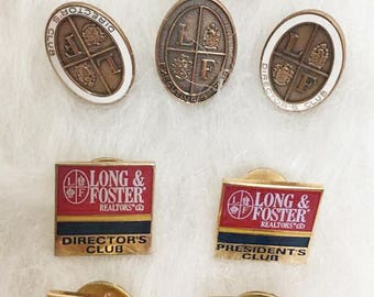 Vintage Realtor Long and Foster Lapel Tac Pin Lot / Lot of 8 / Real Estate Directors Club / Million Dollar Club 1994
