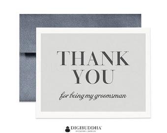 Groomsman Thank You Card Wedding Thank You Cards Best Man Card Groomsmen Cards Gray Wedding Thank You Cards Best Man Thank You Card CW0014