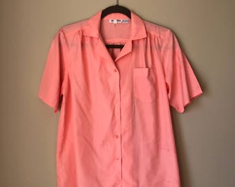 Vintage Short Sleeved Button Down Blouse Shirt Peach
