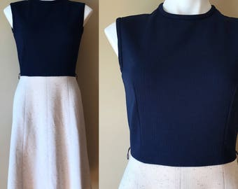 Vintage Tony Todd Sleeveless A Line Dress Navy Blue and Off White