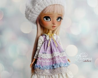 Blythe/Pullip White Beret SUGAR CLOUD By Odd Princess Atelier, New Collection, Hand Knitted Collection