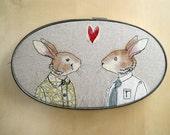 rabbit couple - embroidery art - free motion stitching - hoop art - fabric art