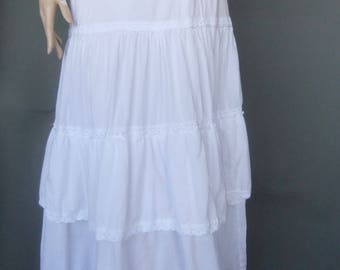 white ruffled skirt, prairie skirt, tiered skirt, white maxi skirt