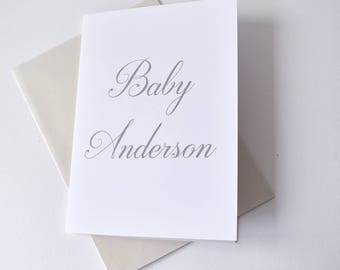 Baby shower card, customise the name for an elegant baby shower gift, personalised card for mother to be, baby card, expecting mother card