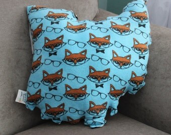 State of Ohio Accent Pillow Hipster Fox Flannel (Ready to ship!)