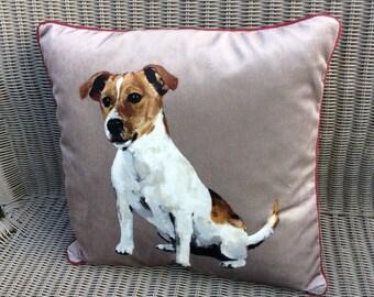 Jack Russell velvet cushion. Free Uk P &P. 18 inch square pillow. Terrier dog pillow. Velvet and tweed pillow. Scatter cushion. Dog cushion.