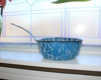 Graniteware Pan Robins Egg Blue and White Vintage Enamelware 1930s