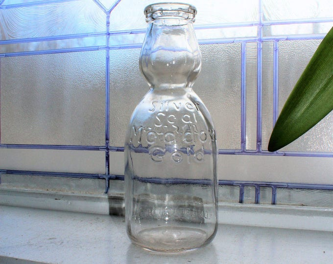 Vintage Cream Top Milk Bottle Silver Seal Medow Gold