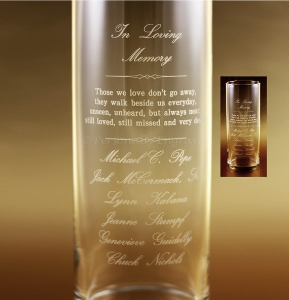 Memorial Candle Vase Floating Candle In A Custom Engraved