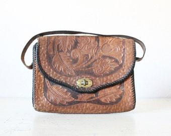 1930's Tooled Leather Saddle Handbag