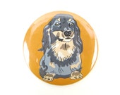 Long Haired Dachshund Magnet or Pin Back Button, dachshund dog magnet, fridge magnet, small gift, cute valentine, black and tan dachshund