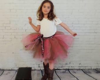 Tutu for Girls, country girl tulle skirt,Cowgirls girls rule tutu skirt,cowgirl tutu skirt, cowgirl birthday tutu sewn tutu, pink brown tutu