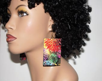 Super Funky Fabric Covered Wood Earrings-Fireworks