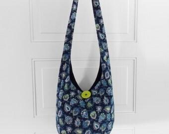 Hobo Bag Boho Bag Sling Bag Hippie Purse Crossbody Bag Hippie Bag Hobo Purse Bohemian Purse Slouch Bag Paisley Corduroy Hobo Bag Handmade