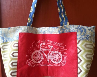 Tote bag handmade with upcycled upholstery fabric samples pockets washable ooak one of a kind ecofriendly reusable shopping bags farmers bag