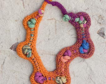 Asymmetric statement necklace, orange chunky knot necklace, OOAK knitted fiber jewelry