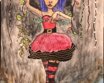 Christmas Art ORIGINAL 5.5x8.5 watercolor on paper // marionette doll, dancing, christmas lights, hands, strings // blue hair, leaves, red