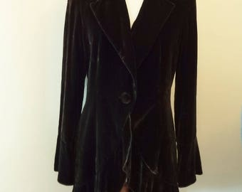 CHOCOLATE VELVET COAT - Deeply Ruffled Hem, Longer at the Back - Wide Cuffs on Sleeves - Medium: American Size 10, British Size 12