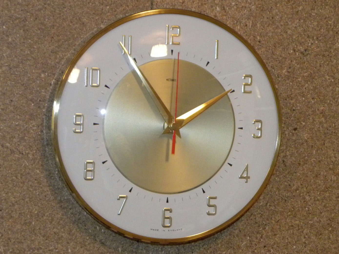 Vintage Metamec Wall Clock Battery Operated Recycled Wall