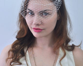 Bridal Ivory Feather Headband with Net Birdcage Veil | Bridal Headpiece | Ivory Feather Headpiece | Wedding Accessory | Russian Veil