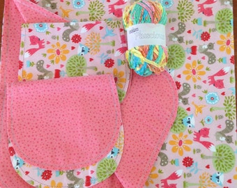 Fox Hemstitch pink receiving blanket and burp cloth with pluscious yarn, double sided flannel receiving blanket