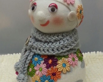 "9"" Sock Doll, Ornamental Doll, One of a Kind, Fantasy Doll, Sock People. Fancy Sock Dolls. Door Stopper. FREE UK DELIVERY"