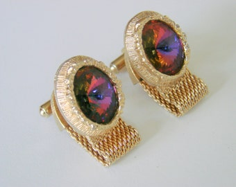 1960s Retro Mesh Wrap Rivoli Glass Cufflinks Jewelry Jewellery Shirt Accessories