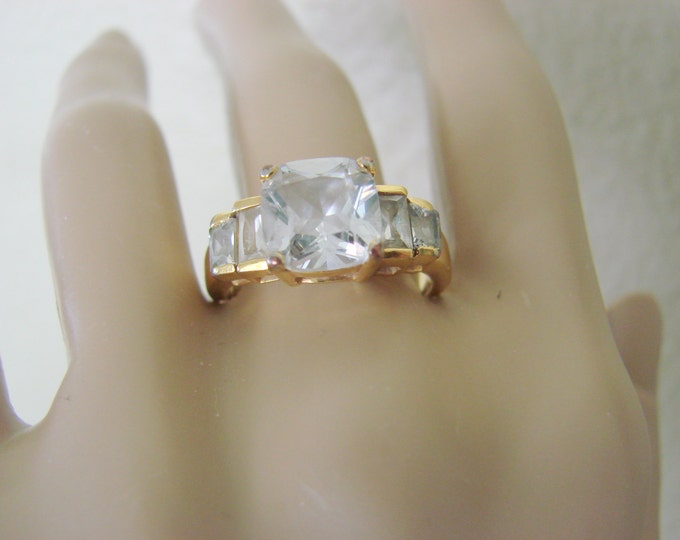 Hallmarked Sterling Gold Vermeil Cubic Zirconia Ring Size 8.75 Vintage Jewelry Jewellery