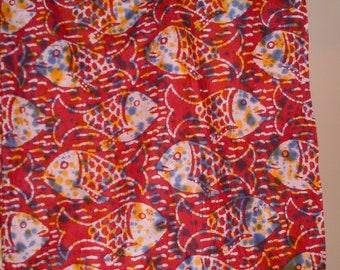 fish print batik fabric 3 yards